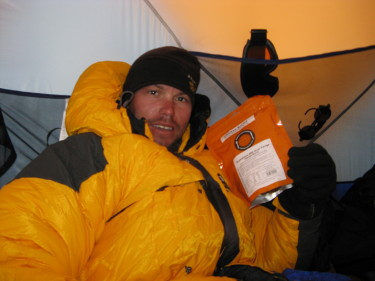 Paul Walkington in his went in the Himalayas